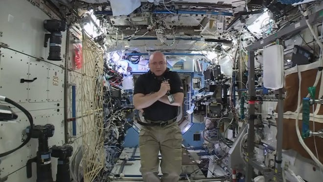 Scott Kelly in the International Space Station on Feb. 25, 2016.