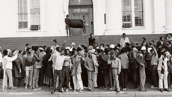 Black students protest at Wilmington City Hall in February 1971. The students claimed they were receiving unequal and abusive treatment at the recently integrated high schools, primarily Hoggard.