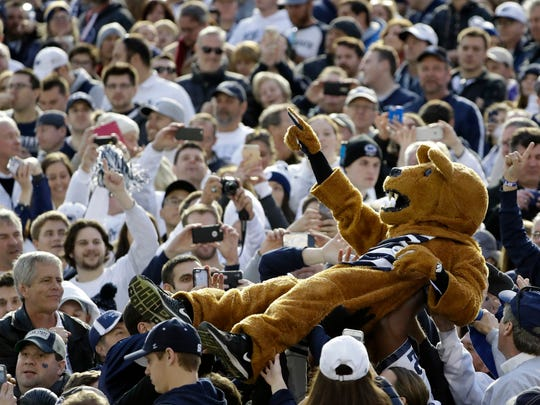 The Penn State mascot performs during the second half of the Rose Bowl NCAA college football game against Southern California Monday, Jan. 2, 2017, in Pasadena, Calif. (AP Photo/Gregory Bull)