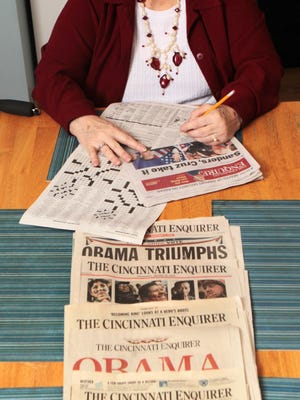 Dorothy Weigel, 73, of Springdale; didn't grow up in Cincinnati but has subscribed to The Enquirer for 40 years. Among the things she enjoys about the paper are the crossword puzzle and the Jumble word game. She also collects copies of the paper from days with historical significance. (SHOULD ANYONE WONDER-IF SHE DOES NOT LOOK HAPPY ENOUGH, SHE WAS VERY SELF CONSCIOUS ABOUT HOW SHE LOOKS WHEN SMILING. HENCE I COAXED AND COAXED FOR A PLEASANT EXPRESSION. SHE IS ALSO DISABLED SO I DIDN'T PHOTOGRAPH HER IN DIFFERENT LOCATIONS) The Enquirer/Patrick Reddy