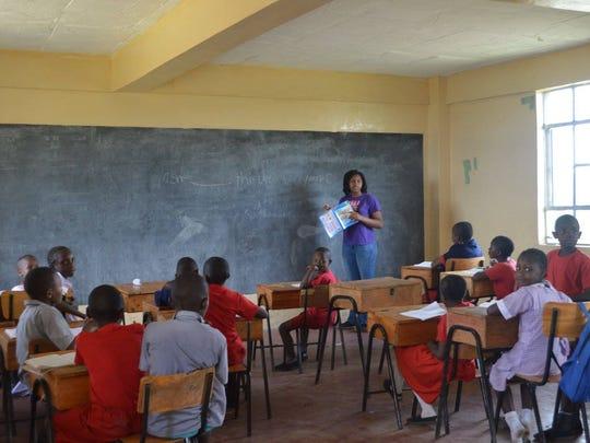 Sophia Andrews teaching at Happy Life Children's Home