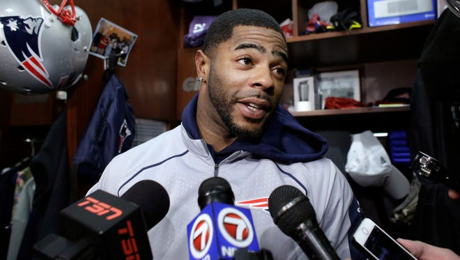 New England Patriots cornerback Malcolm Butler faces reporters in the team's locker room following practice Jan. 26, 2017, in Foxborough, Mass.