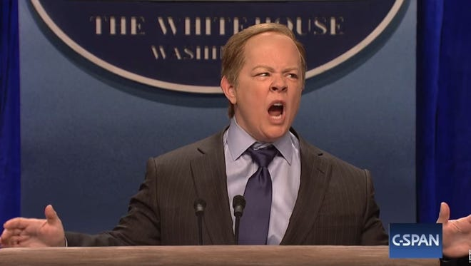 Melissa McCarthy impersonates White House press secretary Sean Spicer on 'Saturday Night Live.'