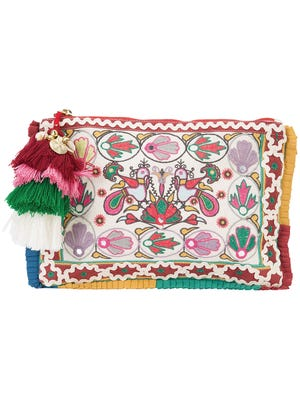 """""""Charade Ornate"""" embroidered clutch, $18, Forever21.com."""
