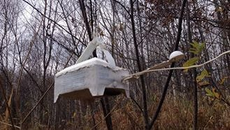 Phil Schweik found a NOAH weather station in the woods in late October 2014. He found it hanging from a tree with a note attached to it directing him where to send the unit. Schweik sent it back hoping that the information they gather from it could be used.