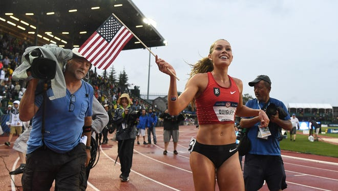 Jul 7, 2016; Eugene, OR, USA; Colleen Quigley reacts after competing during the women's 3000m steeplechase final in the 2016 U.S. Olympic track and field team trials at Hayward Field. Mandatory Credit: James Lang-USA TODAY Sports