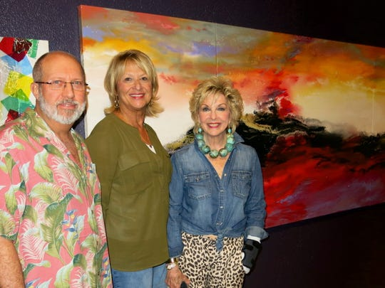 "Alan and Sheryl Little, Linda Goldsberry at ""Echoes of Nepal"" opening at artspace."