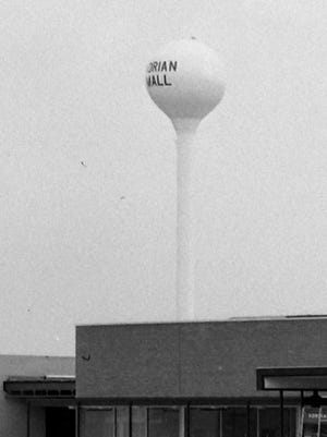 The Adrian Mall water tower, seen here in late 1969, was dismantled less than 30 years later and was reassembled at the Adams County Fairgrounds in Denver, Colorado, where it still stood as of 2019.