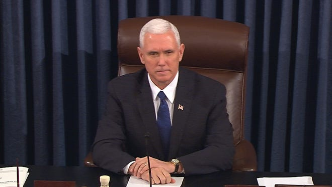 Vice President Pence presides over the Senate on Feb. 7, 2017.