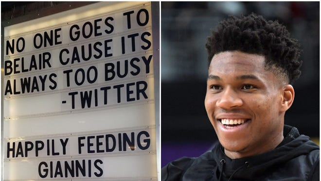 The BelAir Cantina restaurant in Wauwatosa had fun with a sign at the eatery following the criticism it took on Sunday after Bucks star Giannis Antetokounmpo was not seated immediately at its downtown Milwaukee restaurant. A fan posted on social media that the All-Star forward had to wait 10 minutes before he left.