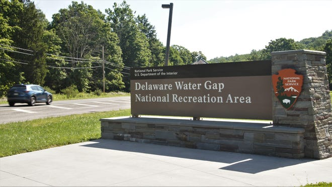 The Route 209 entrance to Delaware Water Gap National Recreation Area is seen on Monday, July 20, 2020.
