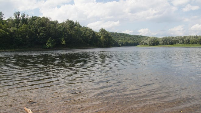 This is the area of the Delaware River, known as Coppermine, seen on Sunday, Aug. 2, 2020, where a 25-year-old Newark man drowned Saturday afternoon. At left is the Pennsylvania shoreline and to the right is Poxno Island, which is in New Jersey.