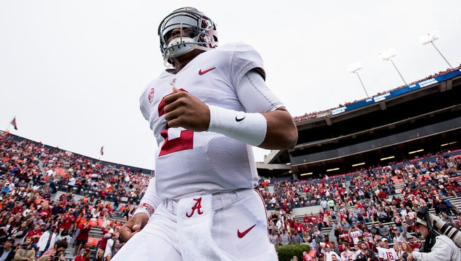 Alabama quarterback Jalen Hurts (2) takes the field before the Iron Bowl in Auburn, Ala. on Saturday November 25, 2017.