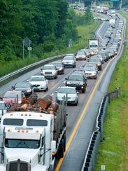 Northbound traffic on Interstate 89 in Colchester slows