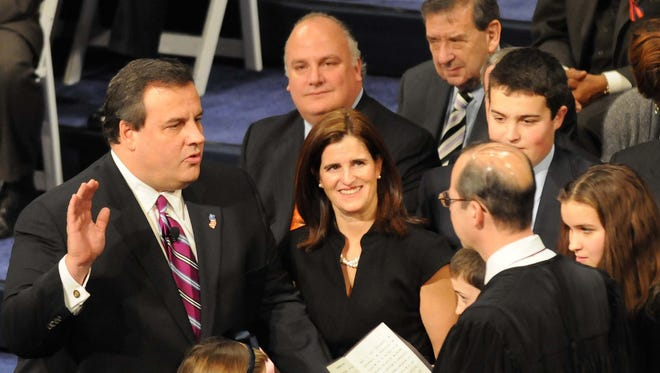 Chris Christie's initial swearing-in as governor at the Trenton War Memorial on Jan. 19, 2010.