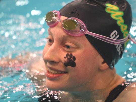 Ursuline's Megan Glass defended her state championship in the 100 butterfly at the Division I state swim meet on Saturday, Feb. 24, 2018, at C.T. Branin Natatorium.