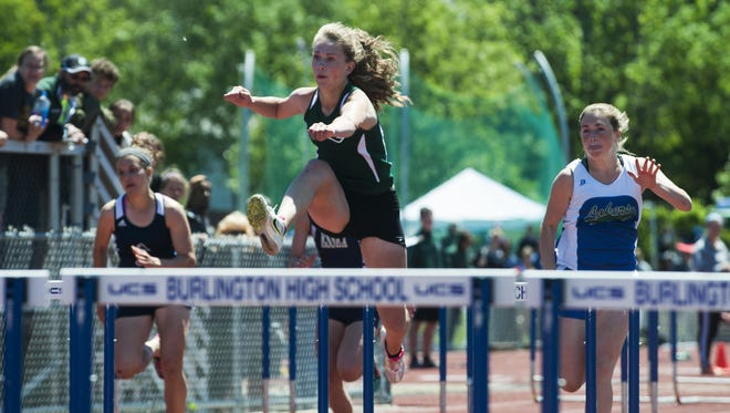 After missing the Burlington Invitational with an injury, St. Johnsbury's Katherine Cowan won three events at Saturday's Essex Invitational (100, 300 hurdles and 4x100).