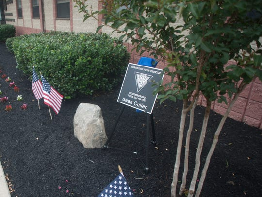 A plaque in honor of late Trooper Sean Cullen is shown