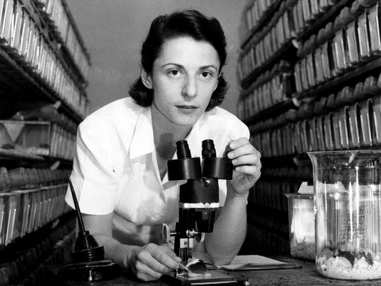 Austrian-born scientist Liane B. Russell is credited
