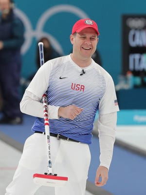 Feb 14, 2018; Gangneung, South Korea; John Shuster (USA) reacts during men's curling round robin play in the Pyeongchang 2018 Olympic Winter Games at Gangneung Curling Centre. Mandatory Credit: Mark Hoffman-USA TODAY Sports
