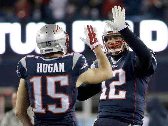 Patriots wide receiver Chris Hogan and quarterback