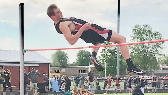 Mansfield Christian freshman Seth Stoner. competing for the first time ever in track, cleared 6 feet-2 inches to win the Division III district high jump title.
