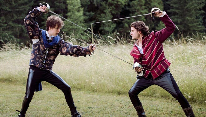 Romeo (Gavin Michaels, left) goes blade-to-blade with Tybalt (Connor Kinzer).
