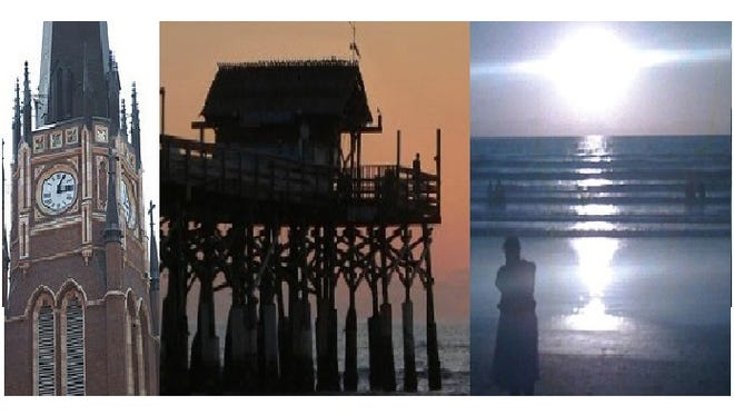 Cathedral of the Assumption, fishing pier, chalice reflection in surf.