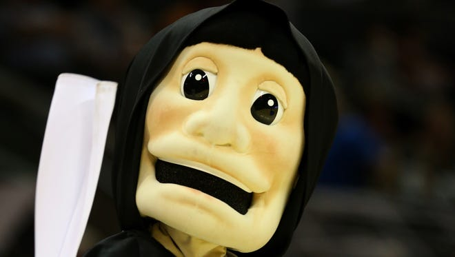 The Providence Friars mascot is shown during a timeout during last year's NCAA Tournament on March 21, 2014, in San Antonio, Texas.