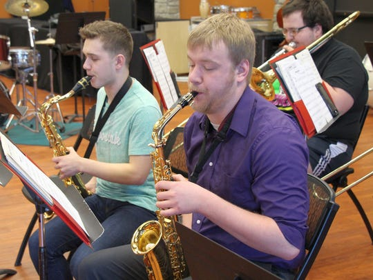 Noah Liermann, left, and Benjamin Johnston rehearse