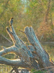 Wes Seigrist, Lake Side Perch, 2107, water color on Crescent rag board