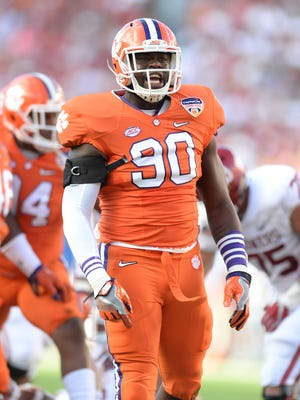 Clemson defensive end Shaq Lawson (90) during the 1st quarter of the Orange Bowl Thursday, December 31, 2015 at Sun Life Stadium in Miami Gardens, Fla.