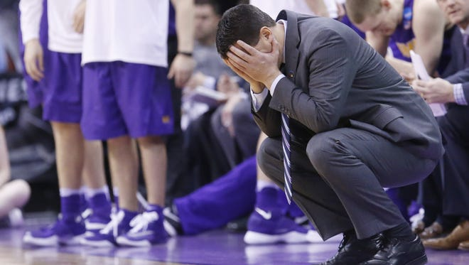 Northern Iowa head coach Ben Jacobson covers his face with his hands in the second half of a second-round men's college basketball game against =Texas A&M in the NCAA Tournament Sunday, March 20, 2016, in Oklahoma City. Texas A&M won 92-88 in double overtime.