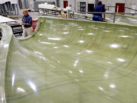 This file photo from August 2008 shows a turbine blade