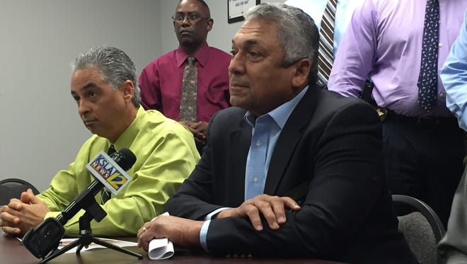 Natchitoches Parish Sheriff Victor Jones Jr. (right) and Chief Investigator Greg Dunn both said during a press conference that more arrests would be forthcoming during the investigation into the fatal stabbing of 18-year-old Dylan Kyle Poche.