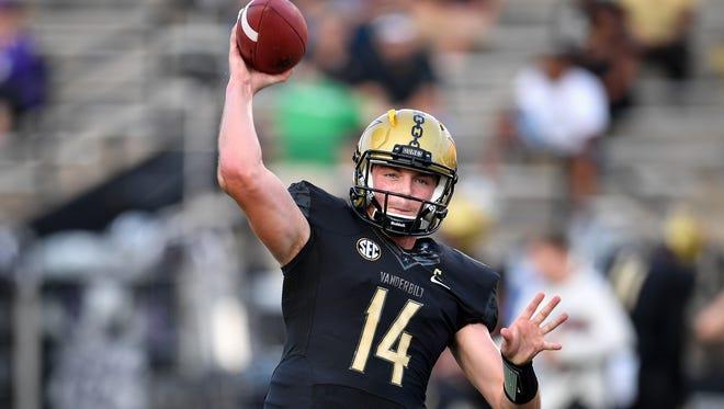 Vanderbilt quarterback Kyle Shurmur warms up before a game against Kansas State earlier this season.