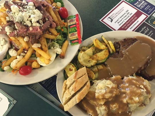 Yes, ,those are fries and prime rib strips on the Pittsburg streak salad. Metro diner cooks sear meatloaf slices (right)  before serving them with gravy and mashed potatoes. Oh the crust!