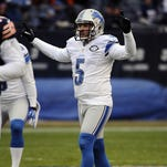 Detroit Lions kicker Matt Prater celebrates a 59-yard filed goal against the Chicago Bears on Jan. 3, 2016, at Soldier Field.