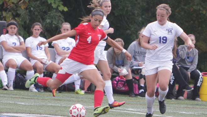 Somers' Ciara Ostrander controls the ball at the midfield while being defended by Mahopac's Ellen Walpole (19) during a Section 1 girls soccer game between Mahopac and Somers at Mahopac High School on Saturday, Oct. 8th, 2016. Somers won 2-0.