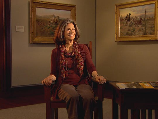 Mary Jand Bradbury being interviewed with Russell works