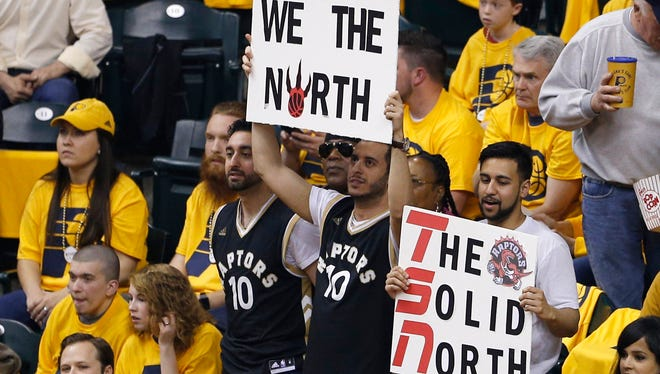 A pocket of Toronto Raptors fans cheered on April 21 when the Raptors played the Pacers in Bankers Life Fieldhouse.