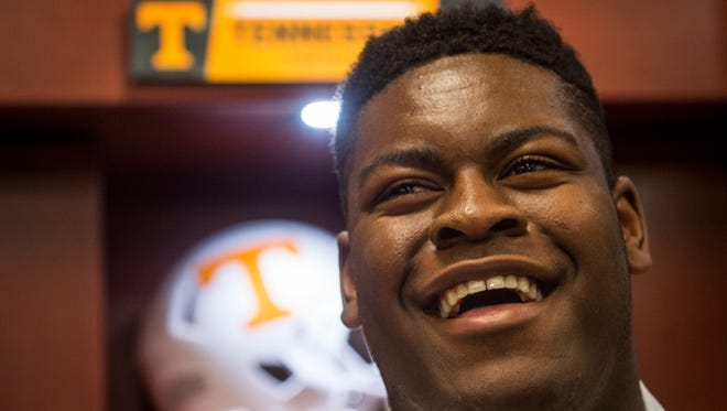 Tennessee five-star offensive lineman enrollee Trey Smith speaks with the media on Thursday, Jan. 12, 2017.