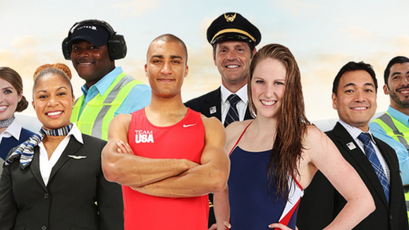 Team USA athletes join United employees in the carrier's