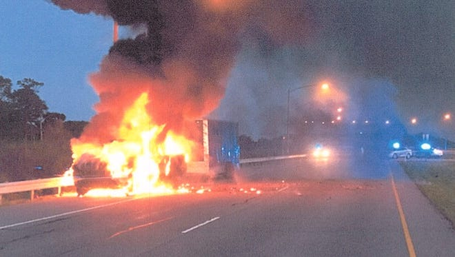 Ffirefighters from Cape Charles and Cheriton responded to the truck blaze on Bay Bridge-Tunnel.