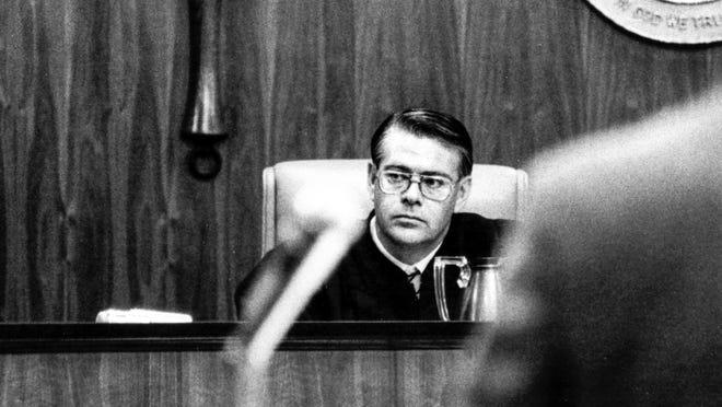 Circuit Judge S. James Foxman presiding over a case in 1982.
