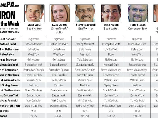 GameTimePA.com's Week 9 football predictions. Click the image to see a larger version.