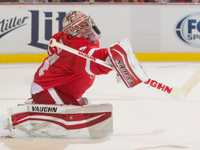 Detroit goalie Petr Mrazek makes a save in the second period during the Detroit Red Wings' 3-0 win over the Toronto Maple Leafs during preseason action at Joe Louis Arena in Detroit, September 29, 2014.
