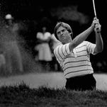 Terry Diehl fires out of s sand trap during the 1980 PGA Chamiponship.