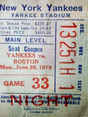A ticket stub from the game in New York in which Jim Rice hit the explosive home run.