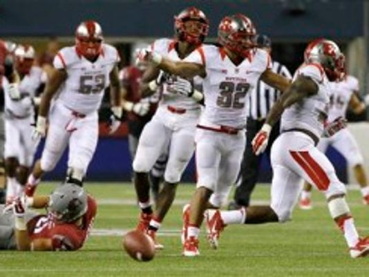 Rutgers cornerback Justin Goodwin (32) had an interception against Washington State but won't play against Howard due to an upper body injury. (AP)